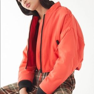 Urban Outfitters Red Cropped Bomber Puffer